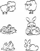 Easter symbol icons — Vector de stock