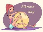 Illustration of fitness girl — Stock Vector