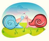 Kissing snail — Stock Vector