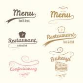 Vector logos. Restaurant labels set. — Stock Vector
