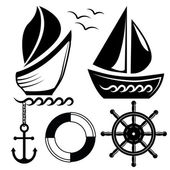 Vector illustration. Nautical icons and design elements. — Stock Vector