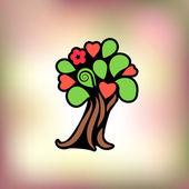Vector illustration. Flowering tree. Logo. — Stock Vector
