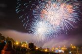 Fireworks on the waterfront — Stock Photo