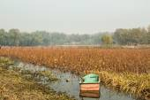 Lonely boat on autumn lake — Stock Photo