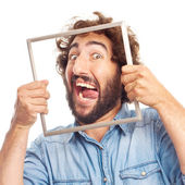 Young crazy man with a steel frame — Stock Photo