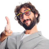 Young crazy man in glasses — Stock Photo