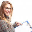 Young cool woman showing a piece of paper — Stock Photo #62159825