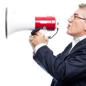 Senior cool man with a megaphone — Foto de Stock
