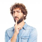Young crazy man doubting — Stock Photo