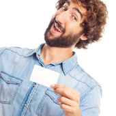 Young crazy man with a name card — Stock Photo