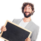 Young crazy man with blackboard — Stock fotografie