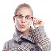 Young cool woman with glasses — Foto de Stock