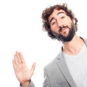Young crazy man hello sign — Stock Photo