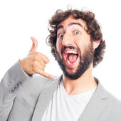 Young crazy man call gesture — Stock Photo