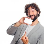 Young crazy man  with name card — Stock fotografie