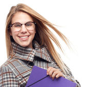 Young cool woman with a folder — Stock Photo