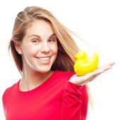 Young cool woman with a shower duck — Stok fotoğraf