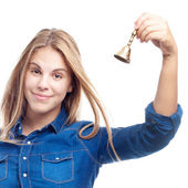 Young cool woman with a bell — Stock Photo