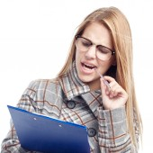 Young cool woman doing a test — Stock Photo