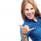 Young cool woman prud pose — Stock Photo