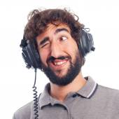 Young bearded man with headphones — Stock Photo
