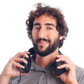 Young bearded man with headphones — Foto Stock