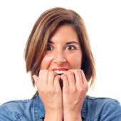 Young cool woman frightened — Stock Photo