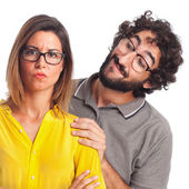 Young cool couple disgust concept — Stock Photo