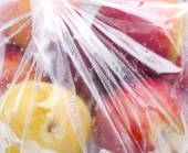 Fruit into a plastic bag — Stock Photo