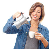 Young cool woman having a coffee — Stockfoto