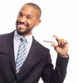 Young cool black man with a credit card — Stock Photo