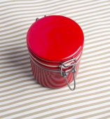 Red jar  on white background — Stock Photo
