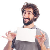 Young crazy man with a placard — Stock Photo