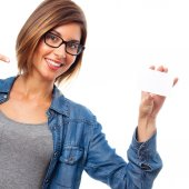 Young cool woman with name card — Stockfoto