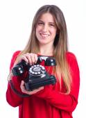 Young cool girl with a phone — Stock Photo