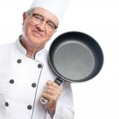 Senior cool man with a pan — Stock Photo