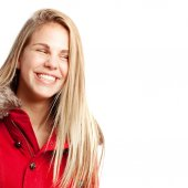 Young cool woman laughing — Stock Photo