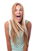 Young cool woman shouting — Stock Photo