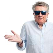 Senior cool man confused sign — Foto de Stock