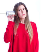 Young cool girl trying to listen — Stock Photo
