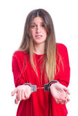 Young cool girl prisoner — Stock Photo