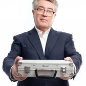 Senior cool man with a steel briefcase — Stok fotoğraf
