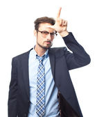 Young crazy businessman loser gesture — Foto Stock