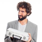Young crazy man with a briefcase — Stock Photo