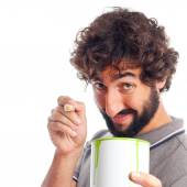 Young crazy man with a paint can — Stock Photo