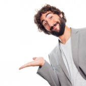 Young crazy man show gesture — Stock Photo