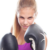 Young cool woman boxing — Stock fotografie
