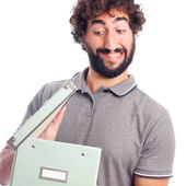 Young crazy man opening a box — Stock Photo