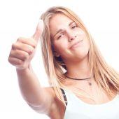 Genç kadın tüm doğru hareketi serin — Stok fotoğraf