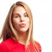 Joven mujer cool besos — Foto de Stock
